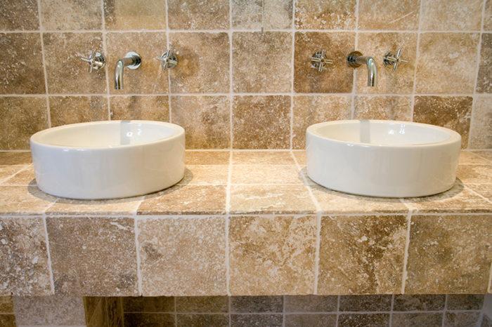 modern bathroom with dual sinks